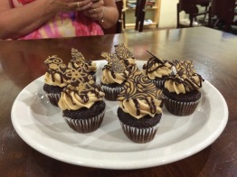 Chocolate cupcakes with peanut butter frosting!